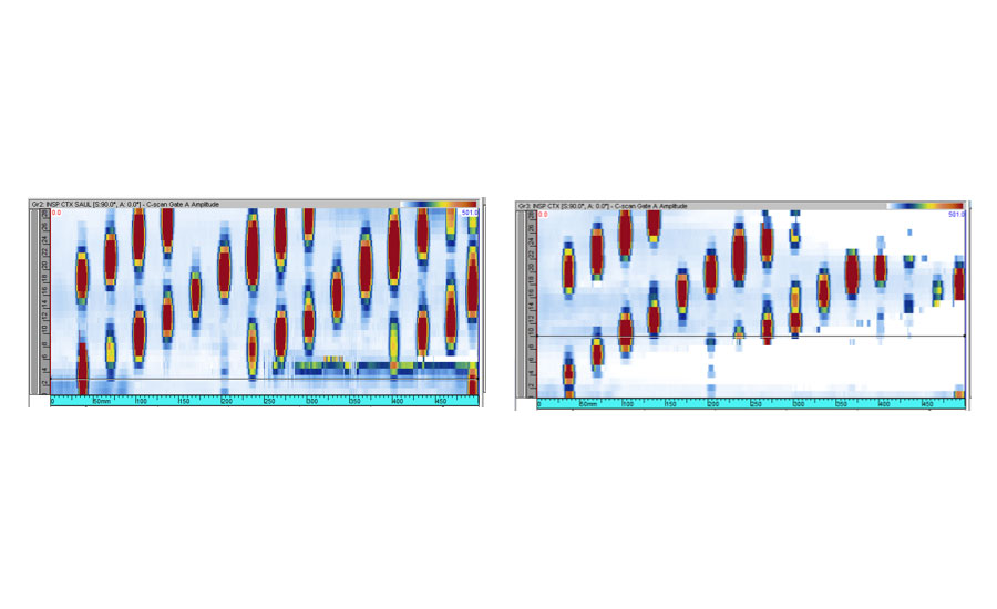 Inspecting uniform varying radiuses with (left) and without (right) adaptive focusing.