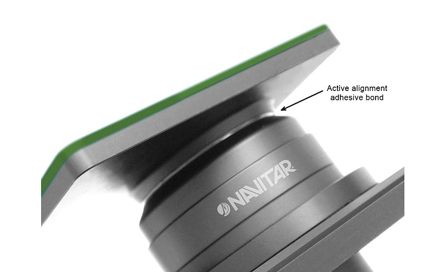 Active alignment adhesive bond of lens to sensor board. Source: Navitar Inc.