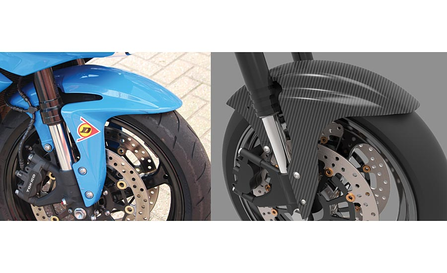 Original mudguard for a Honda CBR 600, and proposed carbon fiber after-market replacement.