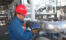 Test in-service on hot pipes with a handheld XRF. Source: Olympus