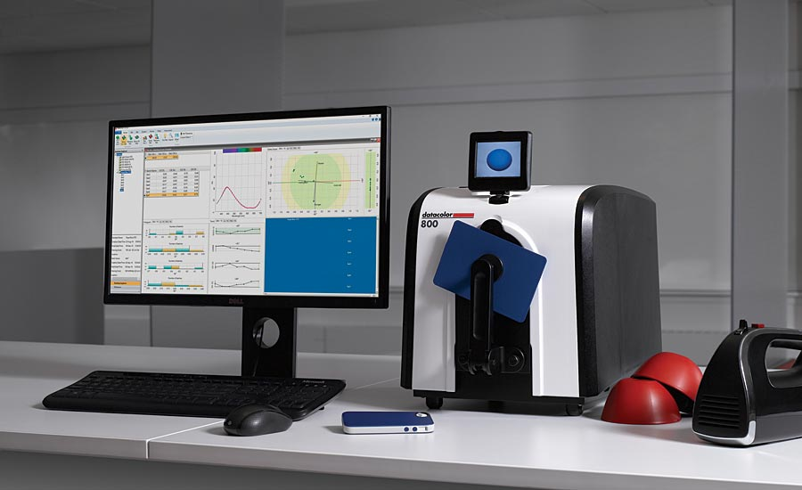 A Datacolor 800 spectrophotometer sits alongside the Datacolor TOOLS software for quality control.