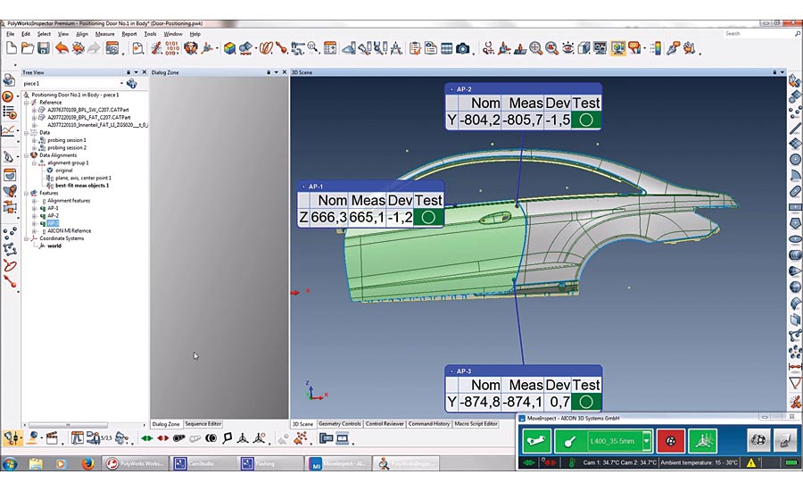The automobile door and side panel are precisely aligned using CAD data.