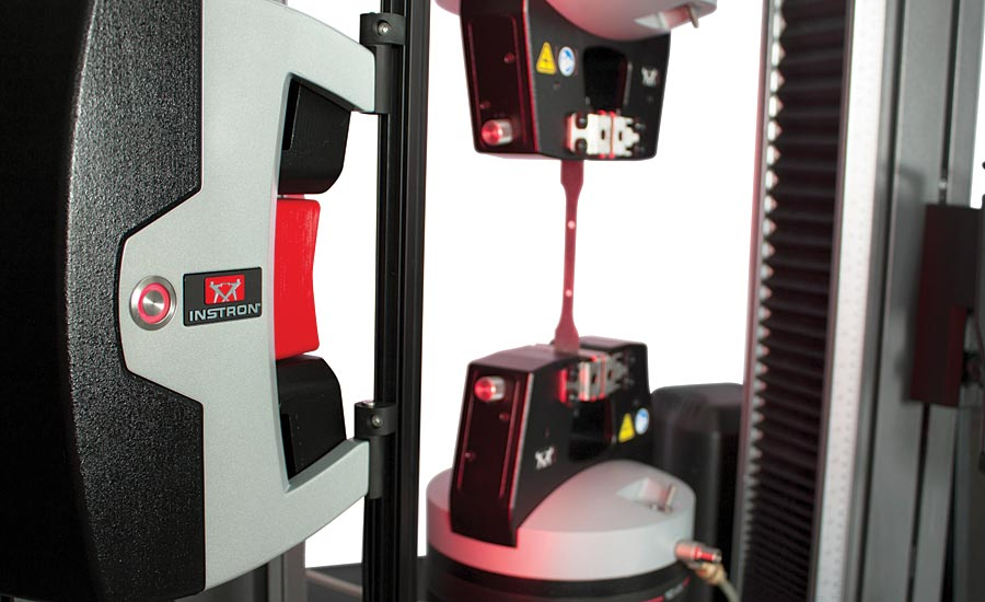 Video extensometers can be used with adjustable gage lengths for tension testing.