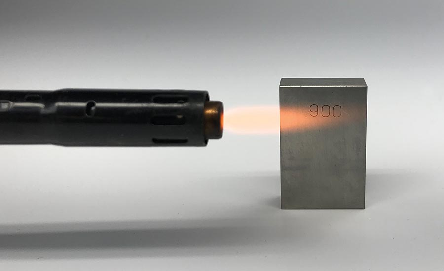 applying heat to a metal block