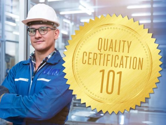 QTY August 2021 Quality 101 Certification Feature Image. Worker Image Source: ultramansk / iStock / Getty Images Plus via Getty Images. Gold Seal Image Source: Glam-Y / iStock / Getty Images Plus via Getty Images.