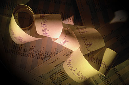 ledgers accounting receipt tape